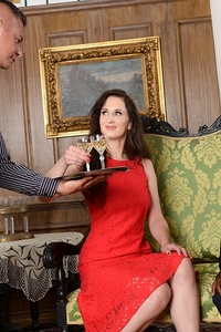 Elegant woman, Emily Ross is enjoying a glass of champagne with her guest Joss Lescaf in her mansion. This lady might seem shy but she is a real naughty one. She slowly starts sucking Joss' big black cock, while her butler Zack is watching them. Always of a great assistance, Zack will do anything to please his boss. While she's getting banged by Joss, Zack steps in and sticks his cock in her mouth. An intense double penetration session follows. Where Emily is taking both cocks at the same time, one in each hole. Nothing feels better to her than getting drilled by two large cocks at once.