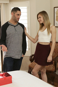 Damon Dice has gotten his girlfriend a gift, and Jillian Janson can't wait to see what it is! She takes her time in opening the box, first stopping to give long kisses to Damon as he lifts her skirt to feel her ass. When she finally undoes the bow and lifts the lid, she is greeted by a big dildo, which is just what she has always wanted!Jillian is definitely interested in trying out her new toy right away. As Damon watches, she licks the tip while rubbing her own pussy over her panties. When she pulls her underwear to the side to caress her landing strip twat with the dildo and then slides it deep into her greedy snatch, Damon can't help but join in on the fun. Leaning forward, he kisses and caresses as Jillian's wrist works overtime driving the toy in and out.Taking over for Jillian, Damon gently claims control of the toy. He gives her plenty to enjoy, especially as he reaches up to suck on her diamond hard nipples at the same time. Pulling the toy out, he lets Jillian lick it clean while he samples her juices right from the source and slides his fingers deep into her slick passage.Jillian doesn't want Damon to think that she likes his gift better than she likes him, so she is quick to get on her hands and knees and suck him off, too. Her puffy lips are soft and her tongue is like a glove as they slip and slide over him. Damon could let his hot girlfriend go on forever, but he knows that they both want something a little more hardcore to really get off.Laying back on the bed, Jillian spreads her legs to welcome Damon between her thighs. She positions him perfectly so that he teases her meaty slit, and then urges him to come inside. The position lets her reach down to rub her own clit as he fucks her with the long sure strokes that she loves, but when he finds another gear and starts pounding away in overtime, Jillian just hooks one leg above her shoulder and hangs on for the ride until she cums with a gush of squirting pleasure.Knowing that Jillian is satisfied but not sated, Damon goes right back to work. He dominates her lusty puss, especially when Jillian rolls onto her side and urges him to spoon behind her. The new position lets him drive in even deeper so that his balls are soon slapping Jillian's ass with every stroke. The new angle of penetration hits every one of Jillian's buttons, leaving her screaming her ecstasy.Their frantic coupling continues when Jillian gets up on her hands and knees and urges Damon to slide into her from behind. Loving every moment of his dick deep inside of her, Jillian moves her hips in time with her boyfriend's so that their combined strokes are hard and fast. Her tits sway in the air with their wild ride, with things only slowing down as Jillian cums again.Following Jillian down, Damon makes sure that she has eked every ounce of pleasure from their erotic romp. Only then does he pull out, taking aim and covering Jillian's rump with his jizz. As she enjoys the post coital bliss, Jillian retrieves her dildo and pushes it into her juicy snatch for one final round of excitement while sucking the last of Damon's man juice from his hardon.