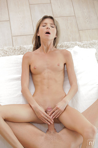 Gina Gerson is incredibly relaxed as she waits for her man Kristof Cale to join her and give her a sensual massage. Kristof takes his time, dripping Gina's legs, back, and lovely bottom with oil that he rubs in very slowly.The temptation of Gina's shaved pussy is too much to resist for long. Drizzling the oil onto Gina's bald mound, , Kristof leans forward to use his tongue to pleasure her swollen clitoris and two stiff fingers to push deep into her tight sheath. Although things start out slow and sensual, Gina's man is unable to restrain himself for long. His tongue flicks faster and harder across her needy slit as Gina pumps her hips and massages her hard nipples. The attention soon sends an orgasm shivering through Gina's body that leaves her moaning and ready to be fucked.Kristof keeps things sensual as he kisses his way up his woman's trembling body and slides into her in the intimate missionary position. They spend plenty of time enjoying the slow penetration, but as Gina's gasps and moans indicate that she is getting close to her second climax of the day Kristof responds by speeding up to deliver a proper pussy pounding.As Gina gives her body a chance to enjoy the lingering pleasure, she helps her man to lie down so that she can take his big dick in her hands and deliver a long slow blowjob. Her obvious pleasure is an incredible turnon to her man as she licks the head of his cock like her favorite treat before taking him deep into her warm wet mouth.When she can't take the anticipation any longer, Gina spreads her legs and carefully presses her sleek pussy to her man's dick to make their intimate connection. They enjoy that position for some time before Gina moves into cowgirl position to ride her beau to their mutual pleasure. One more change in position leaves Gina using her man as her personal sex toy as she turns her back to him and pumps her hips until she explodes in ecstasy. Now that he has seen to his woman's satisfaction by letting Gina call the shots, Kristof gets on his knees and pistons his dick in and out of Gina's welcoming pussy. He is so primed for passion that it takes just a minute of pumping for Kristof to bring himself off all over Gina's smooth lush ass that awaits his love.