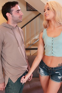 Petite, Nordic blonde Elsa Jean, cute in little cut-off shorts and heels, whines about being stuck with all the chores. Detecting an erection in stepbrother Jake Adams' jeans, the spoiled bitch offers to fix his boner if he'll take over her tasks. Elsa kneels to suck Jake's big prick. They nude up in the living room; she rides cock, butt cheeks flexing. Jake porks his horny, gasping stepsister in multiple positions, with breaks for pussy-to-mouth head. He eats her bald, meaty twat. Elsa strokes his semen into her happy mouth, spilling jism on her tiny, natural titties. She says, 'My brother's cum tastes so good.'