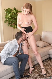 Giselle Palmer is a horny babe that just wants a cock to fill her up. She brings lucky Damon Dice into her living room and gags on his big hard prick before shoving it into her wet pussy.