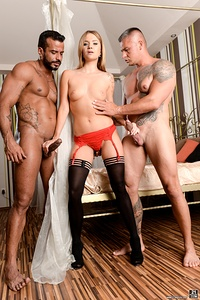 Smoking hot Angel gets a special surprise from Vinny and Zack. She is excited about having these two hard cocks deep inside her holes. Each guy takes turns pounding Angel's ass. Then Angel takes both cocks into each of her warm holes. Angel then gets cummed on from both hot guys.